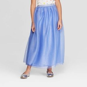 NWT Cat & Jack Periwinkle Blue Tulle Maxi Skirt M